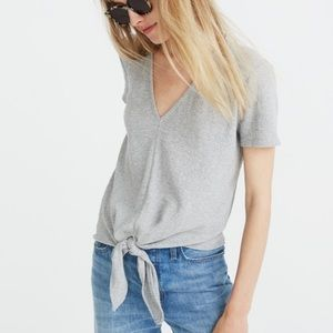 Madewell Texture & Thread V-Neck Tie-Front Top